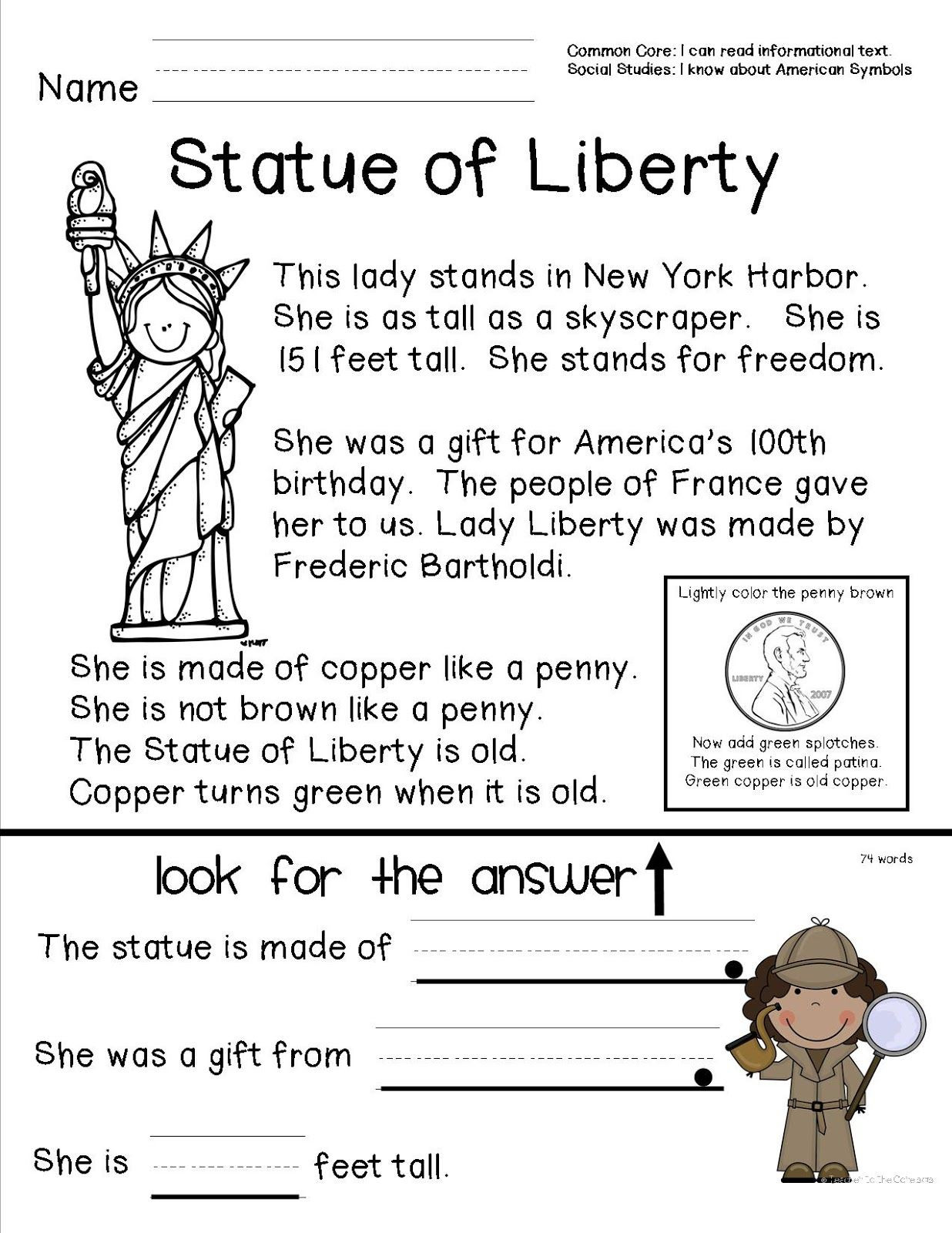 1st Grade History Worksheets Teacher to the Core American Symbols