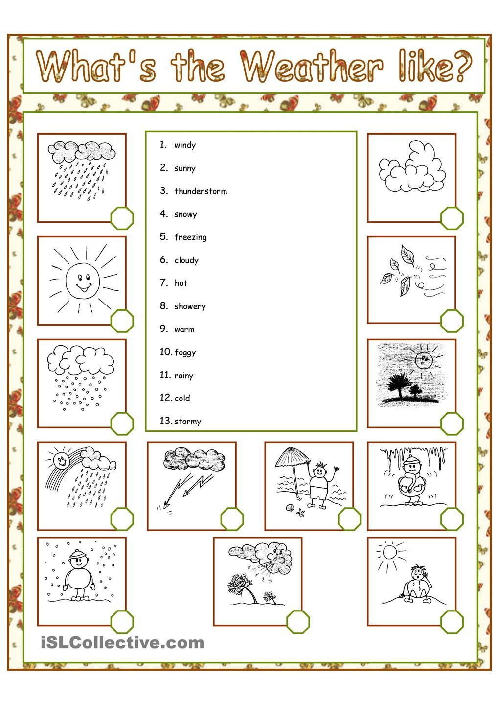 1st Grade Weather Worksheets What S the Weather Like