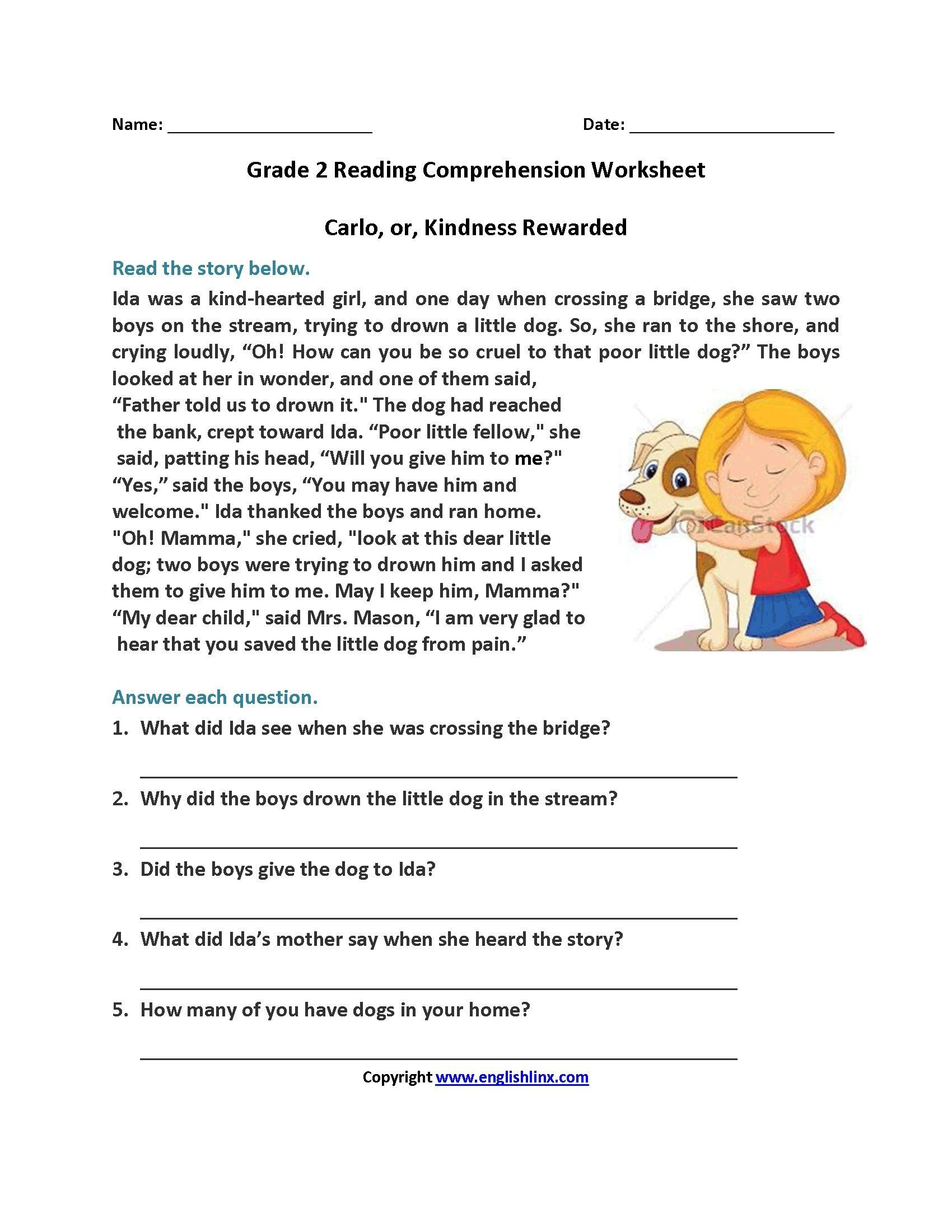 2nd Grade Reading Worksheets Printable 14 Periodic Free 1st Grade Reading Prehension Worksheets