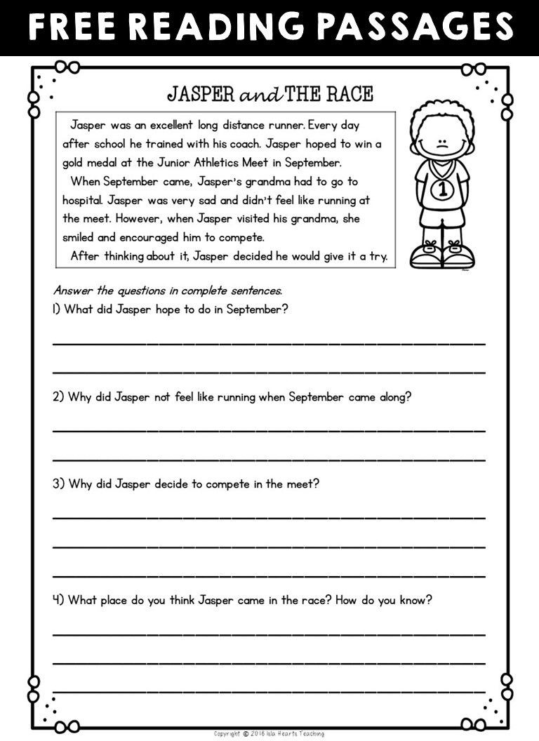 2nd Grade Reading Worksheets Printable Second Grade Reading Prehension Passages and Questions