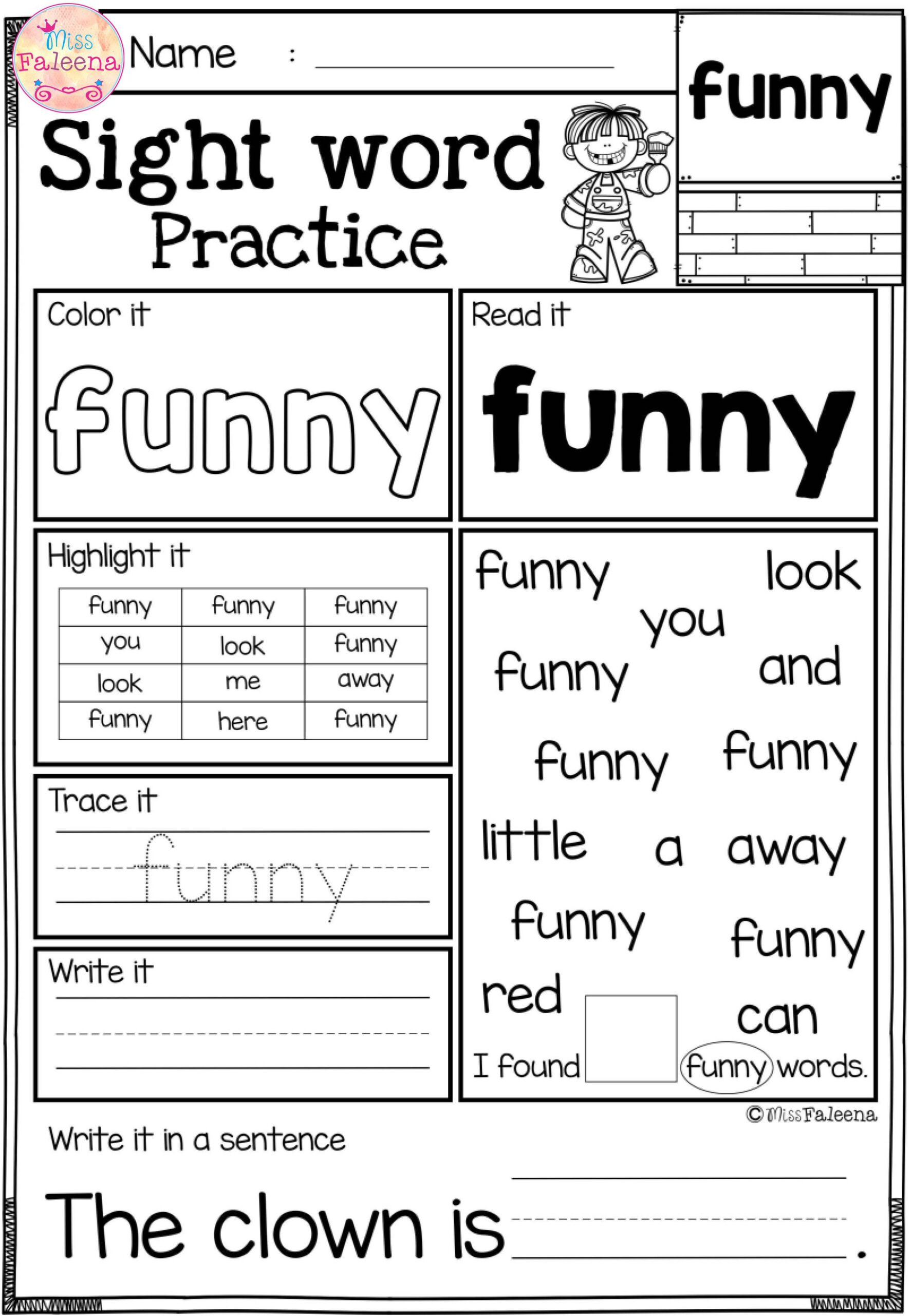 2nd Grade Sight Word Worksheets Free Sight Word Practice Fun Worksheets Grade Math Lessons