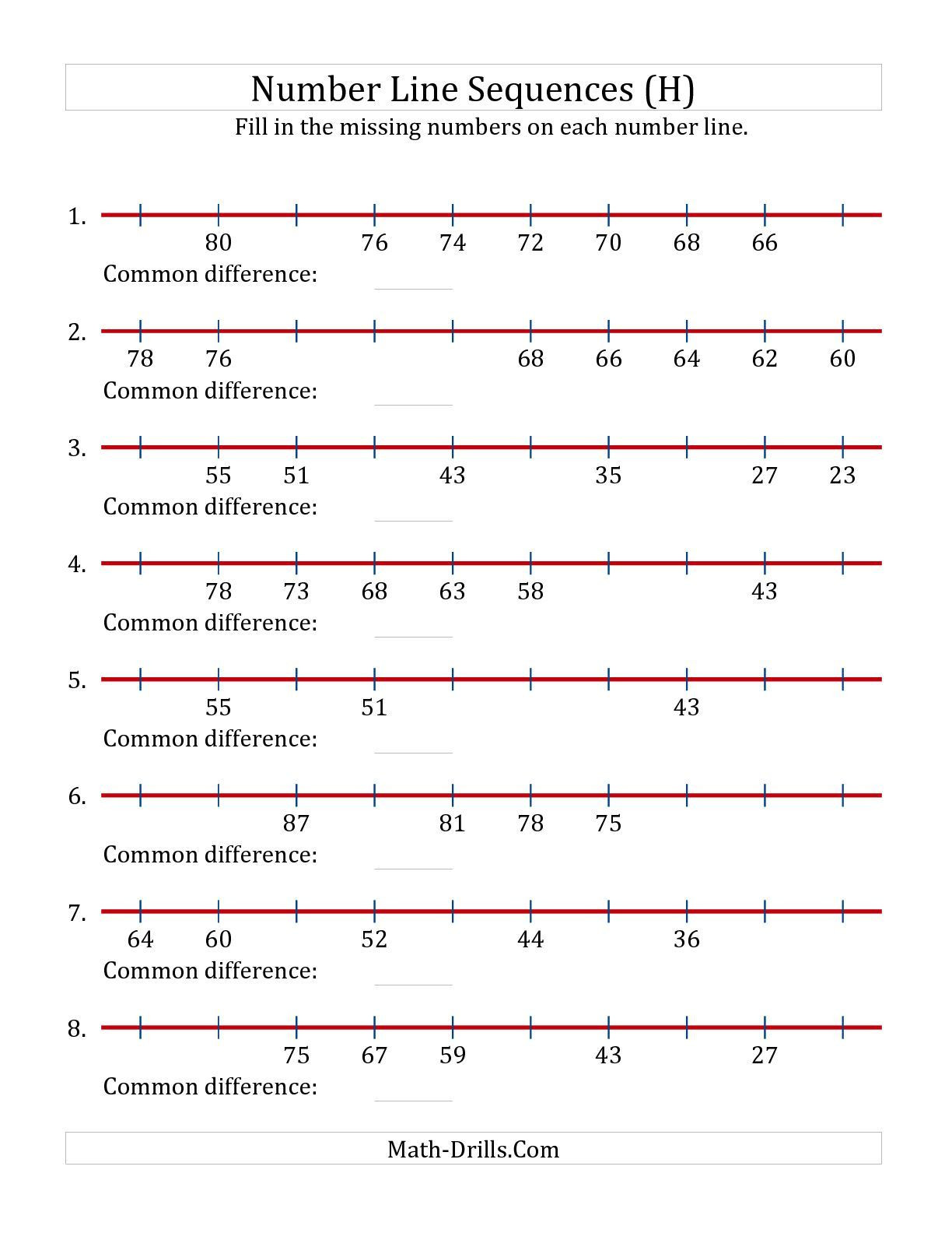 3rd Grade Number Line Worksheets Decreasing Number Line Sequences with Missing Numbers Max