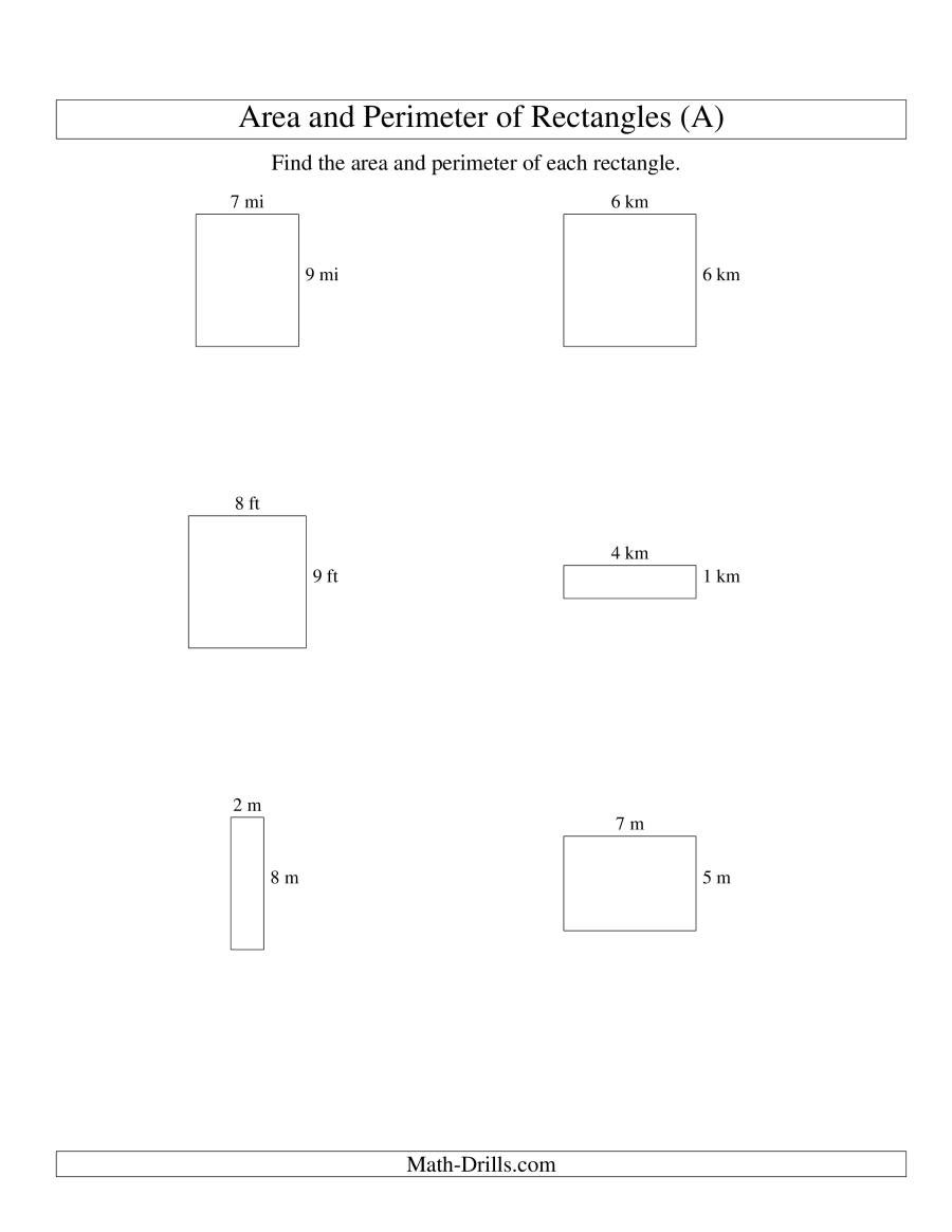 3rd Grade Perimeter Worksheets area and Perimeter Of Rectangles whole Numbers Range 1 9 A