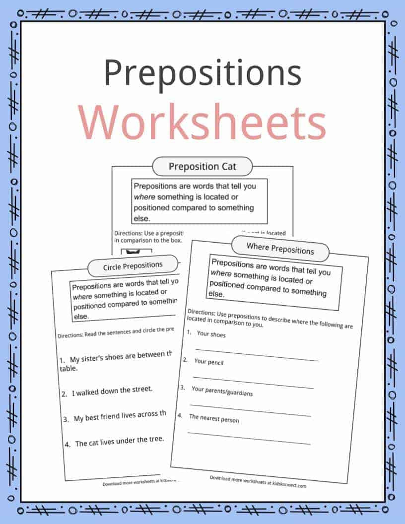 3rd Grade Preposition Worksheets Prepositions Definition Worksheets & Examples In Text for Kids