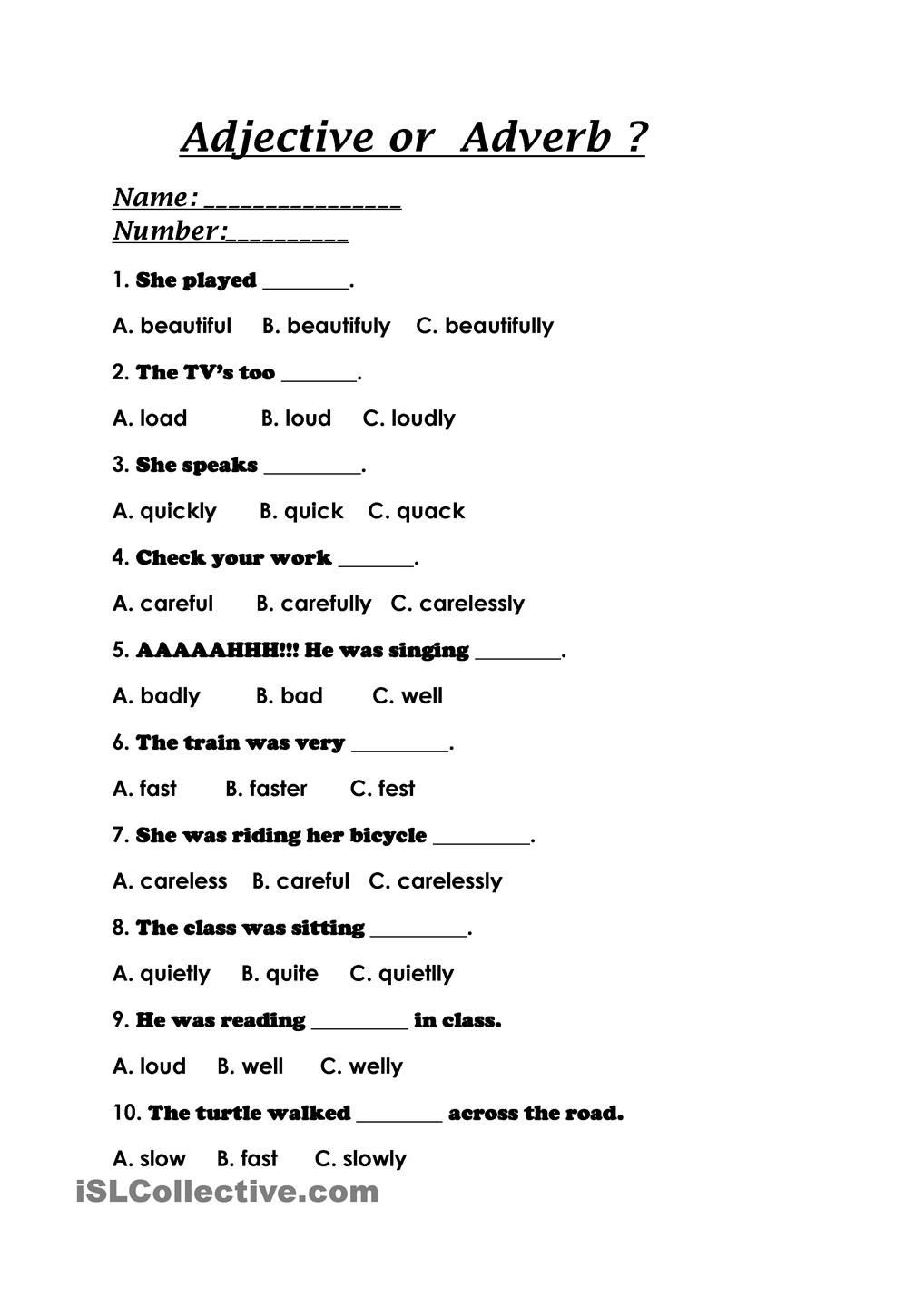 4th Grade Adverb Worksheets Adjective or Adverb