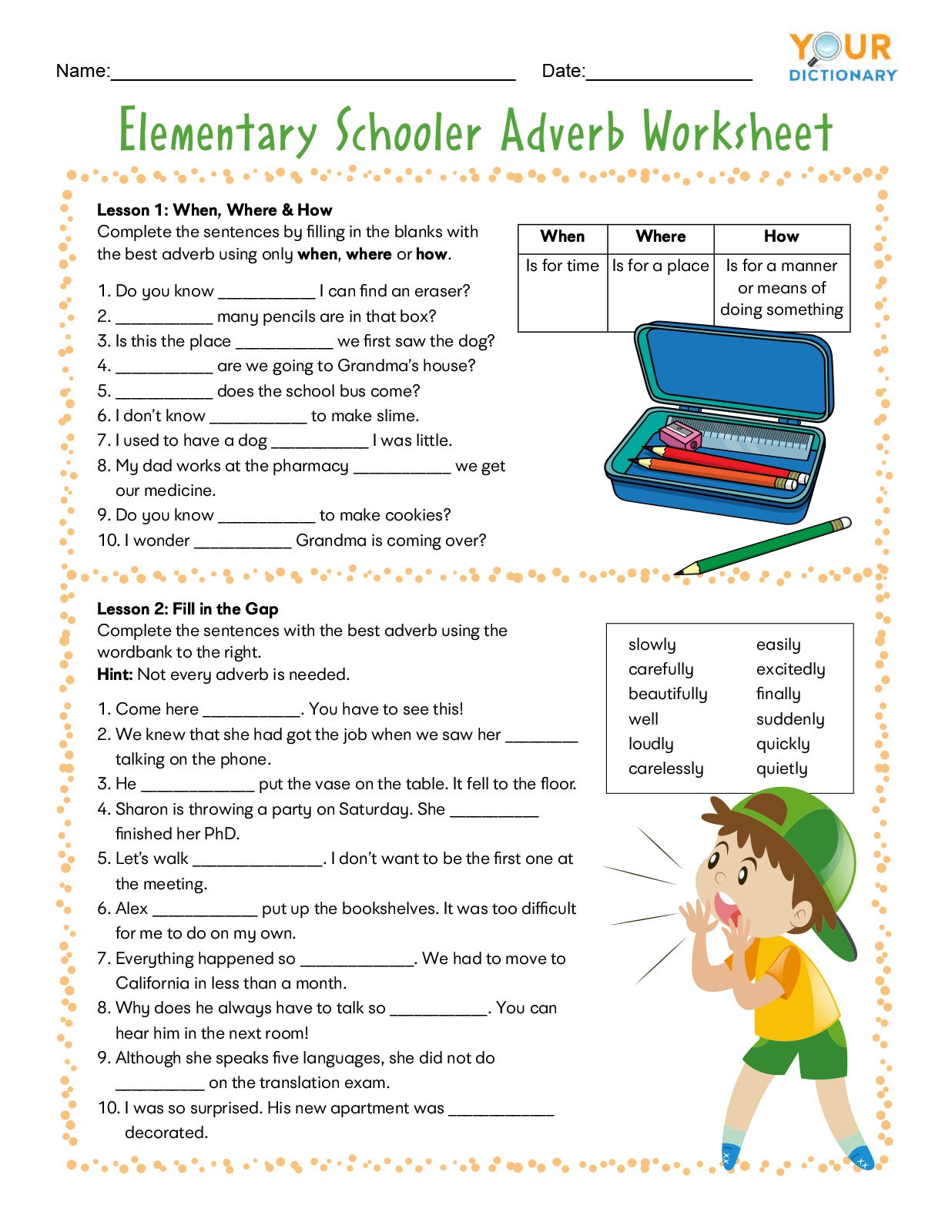 4th Grade Adverb Worksheets Adverb Worksheets for Elementary and Middle School