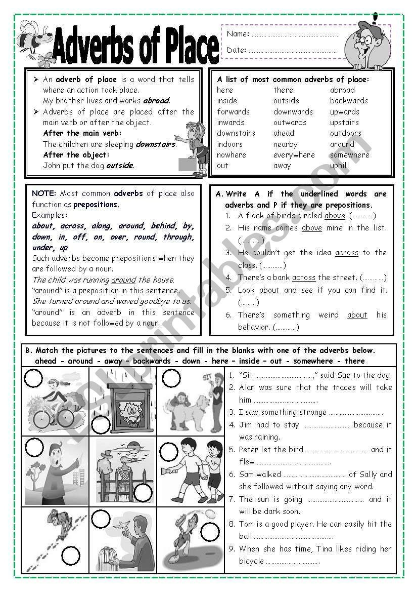 4th Grade Adverb Worksheets Adverbs Of Place Worksheet