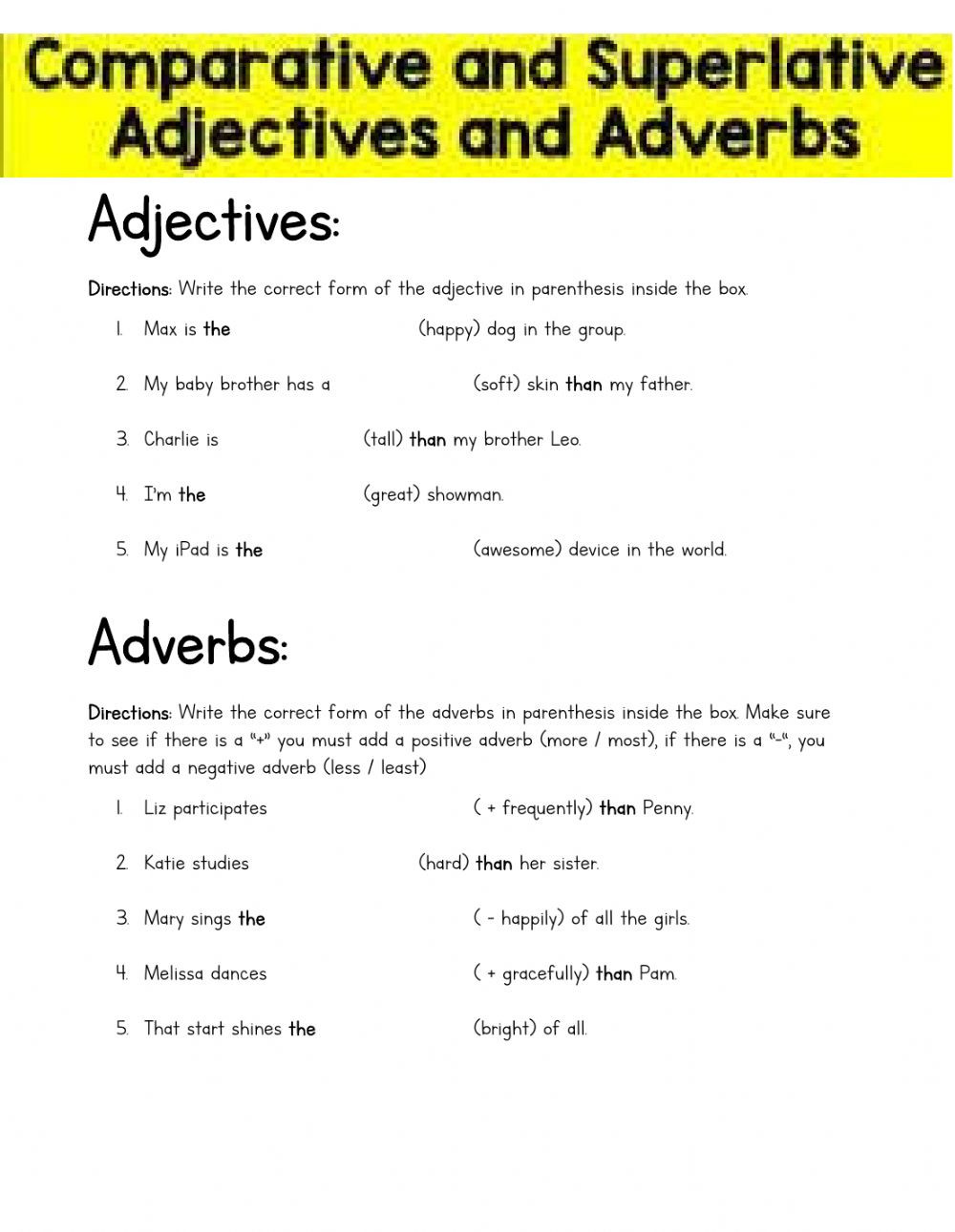 4th Grade Adverb Worksheets Parative and Superlative Adjectives and Adverbs 4th