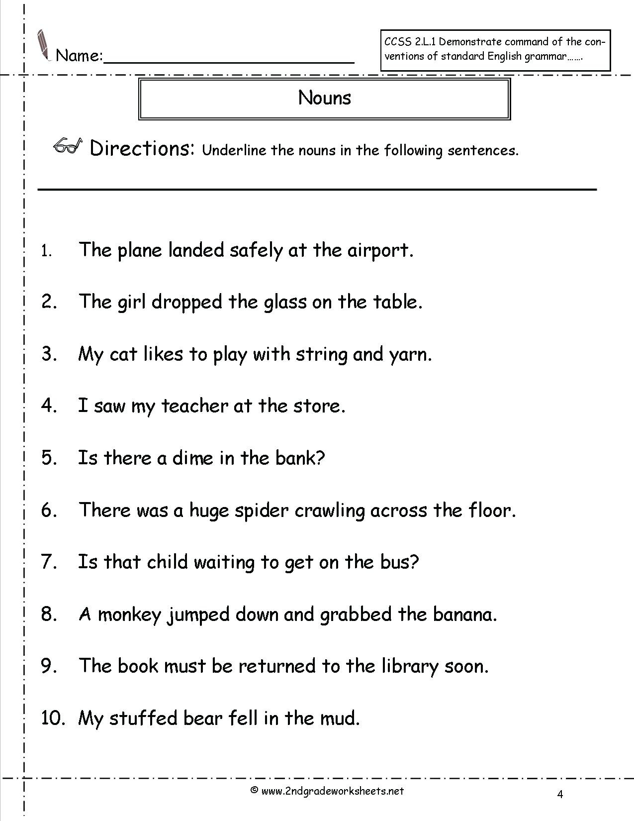 4th Grade Grammar Worksheets Pdf Noun Worksheet Nouns Worksheet Grammar Worksheets for Grade