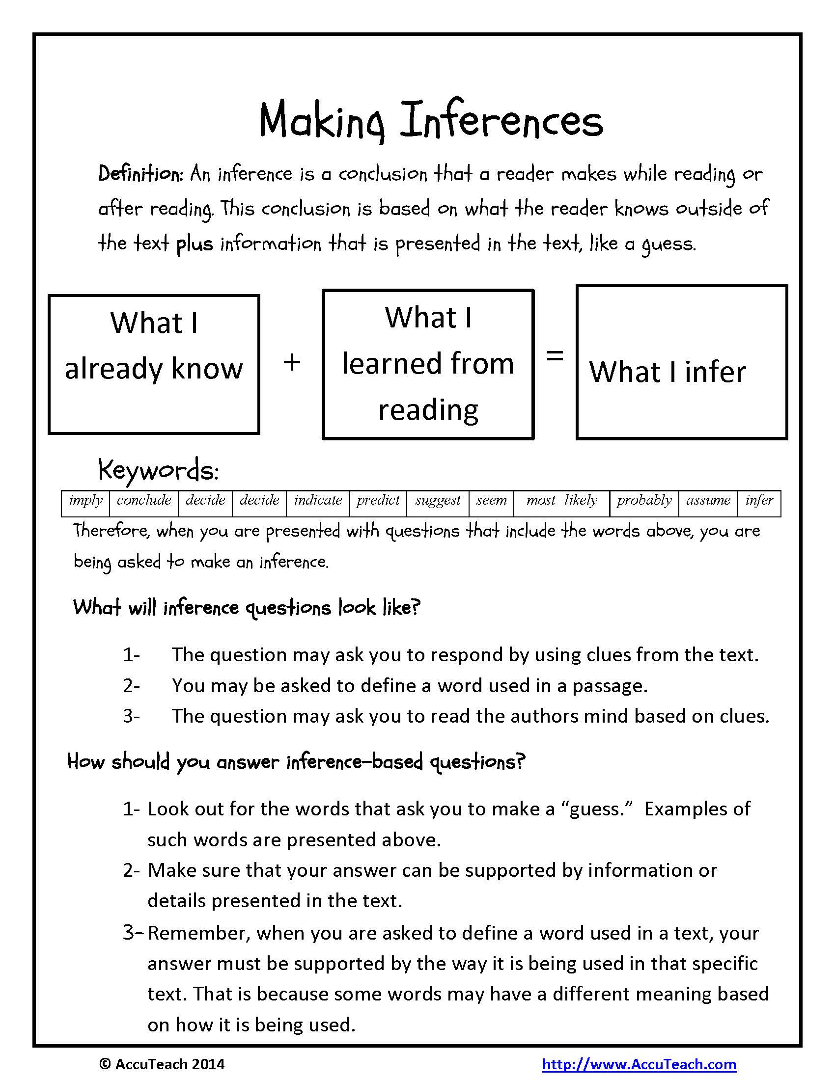 4th Grade Inferencing Worksheets Inference Questions Reading Prehension