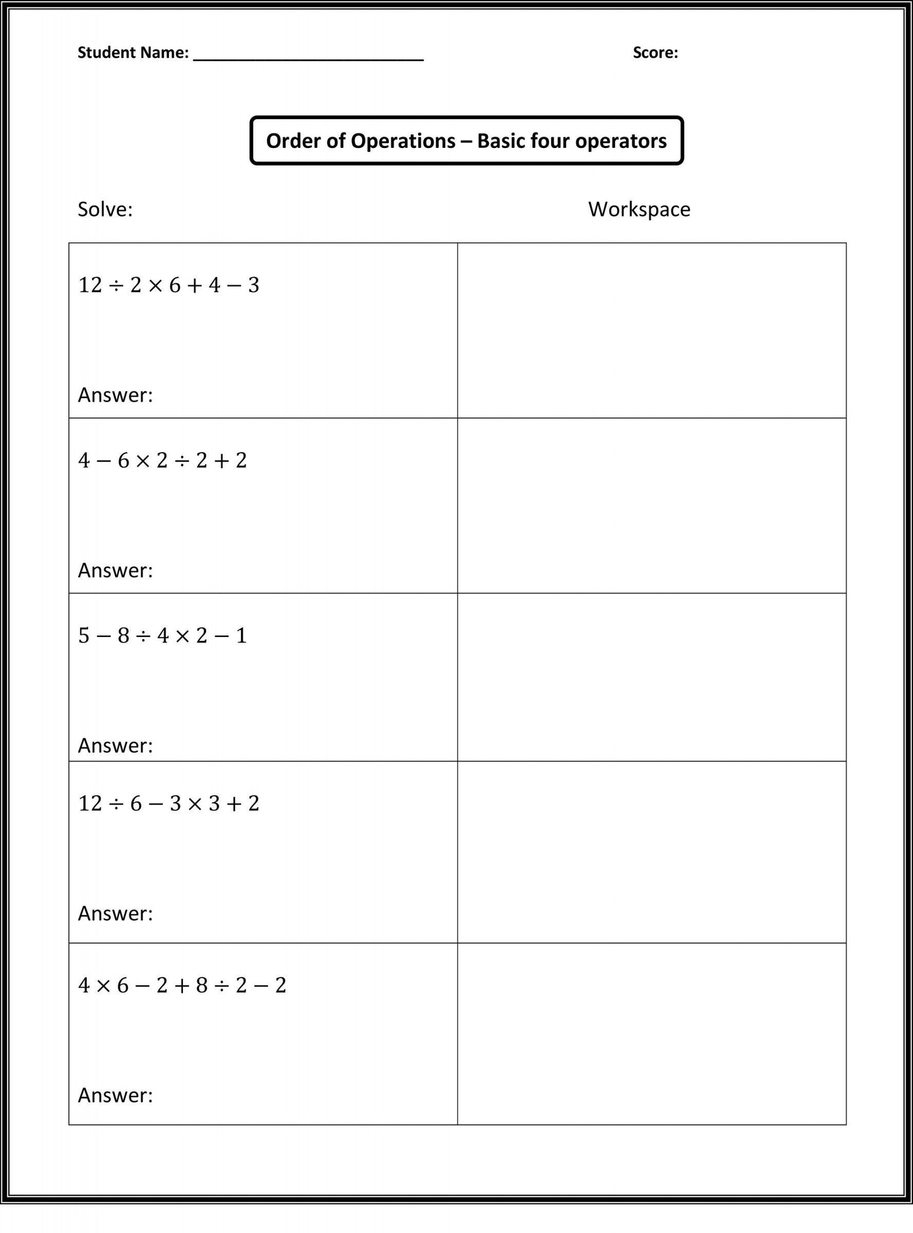 5th Grade Algebraic Expressions Worksheets 6th Grade Math Worksheets Printable with Answers