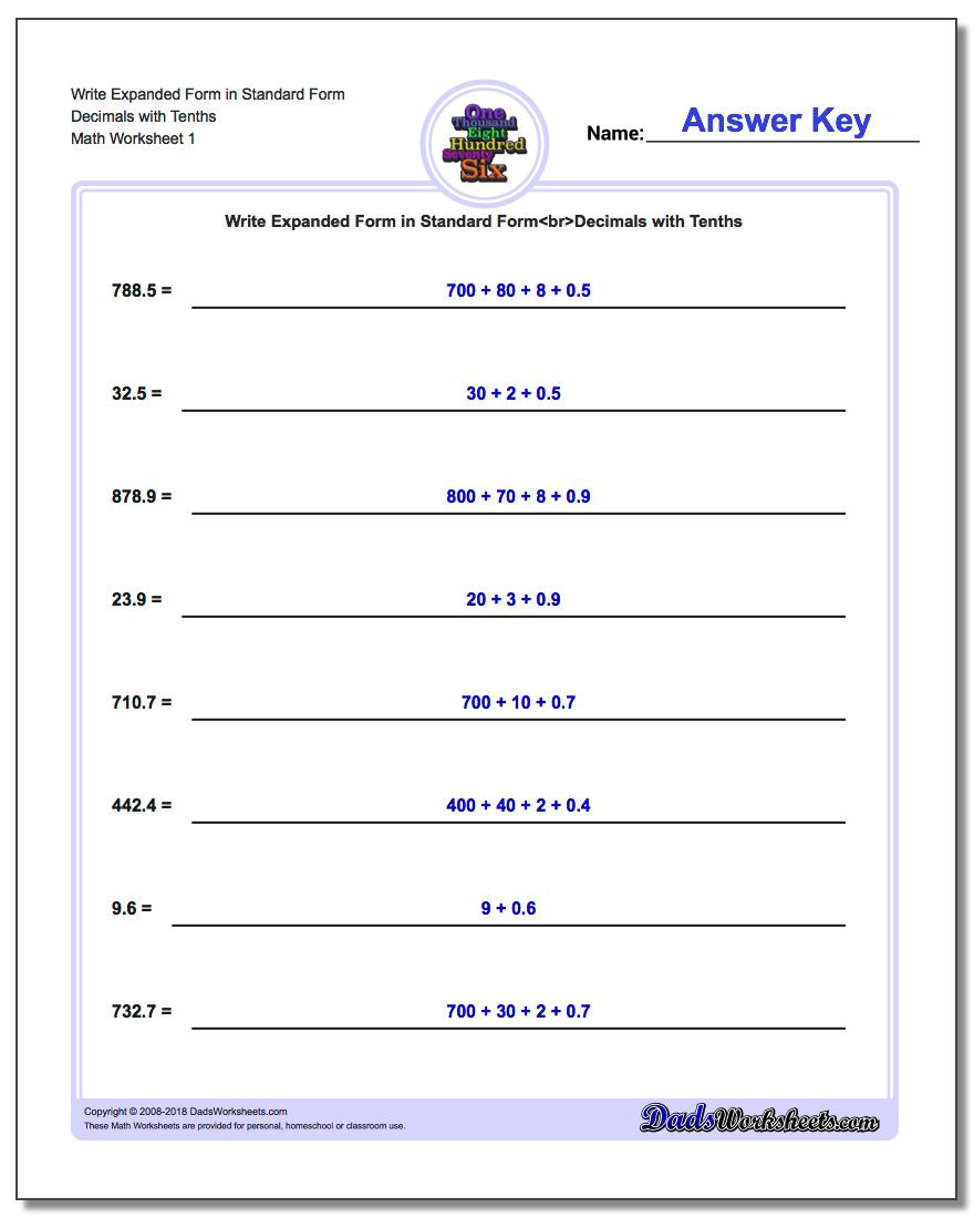 5th Grade Expanded form Worksheets Write Numbers In Expanded form