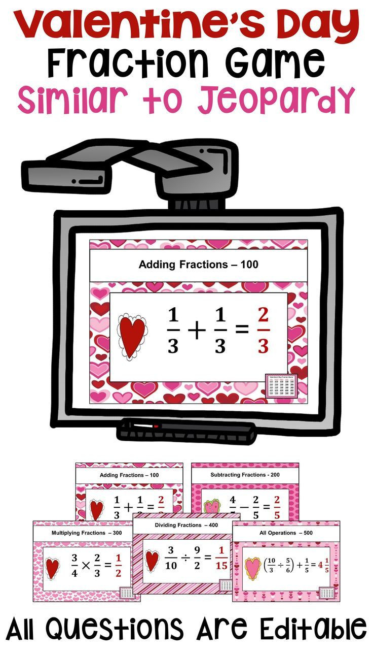 5th Grade Jeopardy Math Valentine S Day Fraction Game Similar to Jeopardy