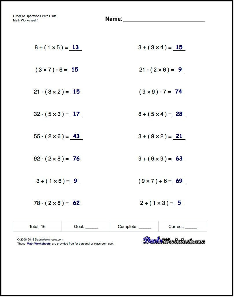 5th Grade Pemdas Worksheets Free Math Worksheets for Exponents Problems Free On