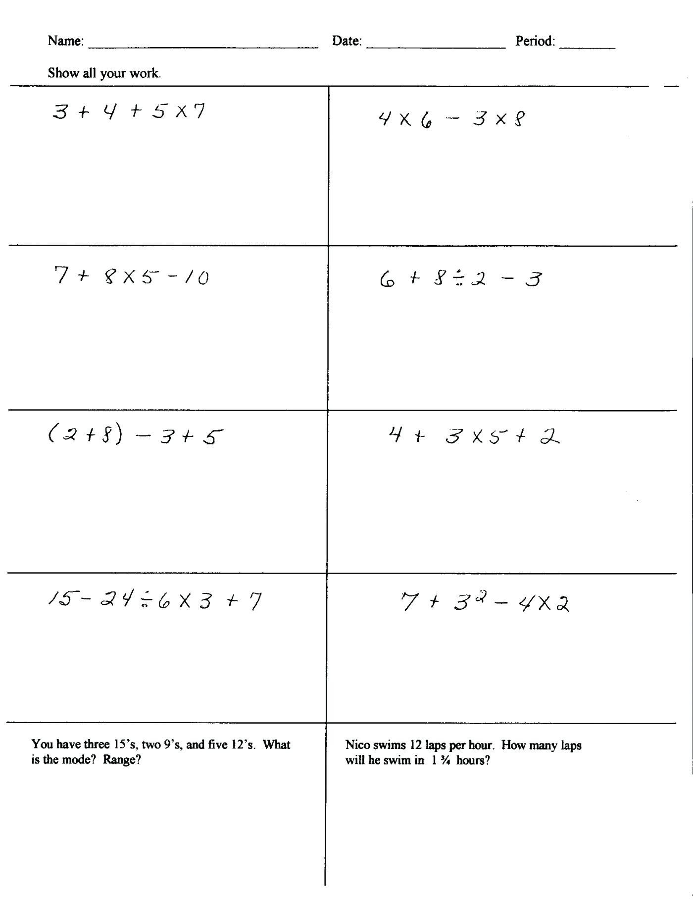 5th Grade Pemdas Worksheets Worksheets order Operations with Brackets