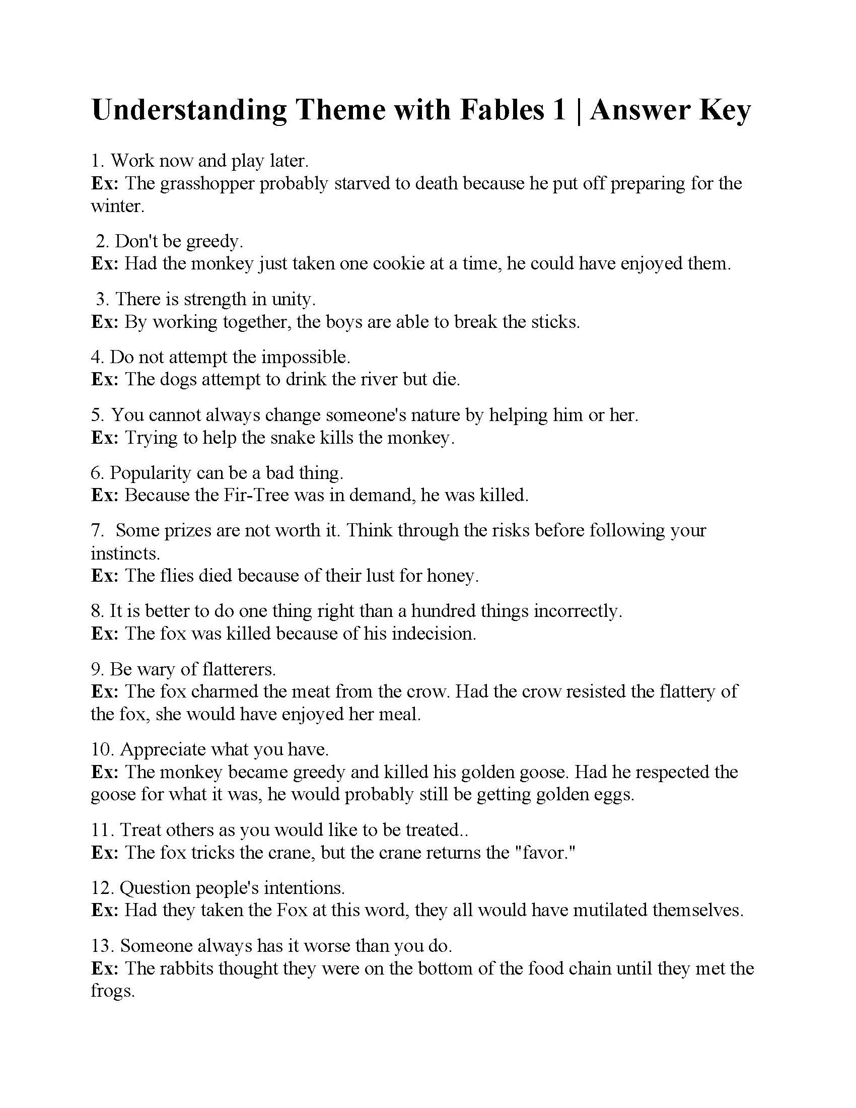 5th Grade theme Worksheets Understanding theme with Fables 1
