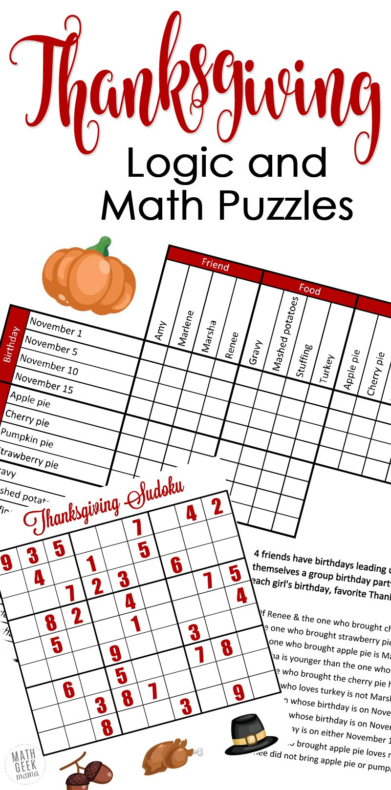 6th Grade Math Puzzles Worksheets Free Fun Thanksgiving Math Puzzles for Older Kids