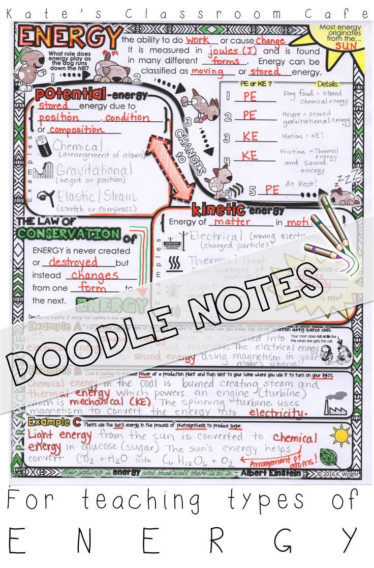 6th Grade Science Energy Worksheets Types Of Energy Doodle Visual Note Sheet