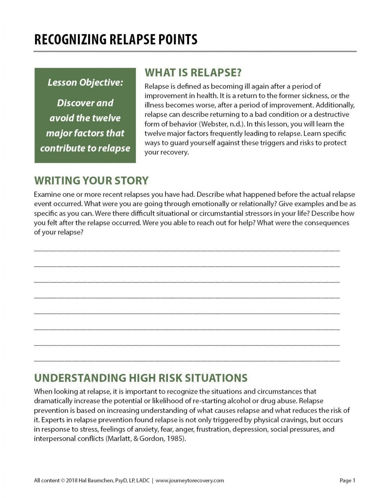 6th Grade Summarizing Worksheets Recognizing Relapse Points Cod Worksheet Journey to Recovery