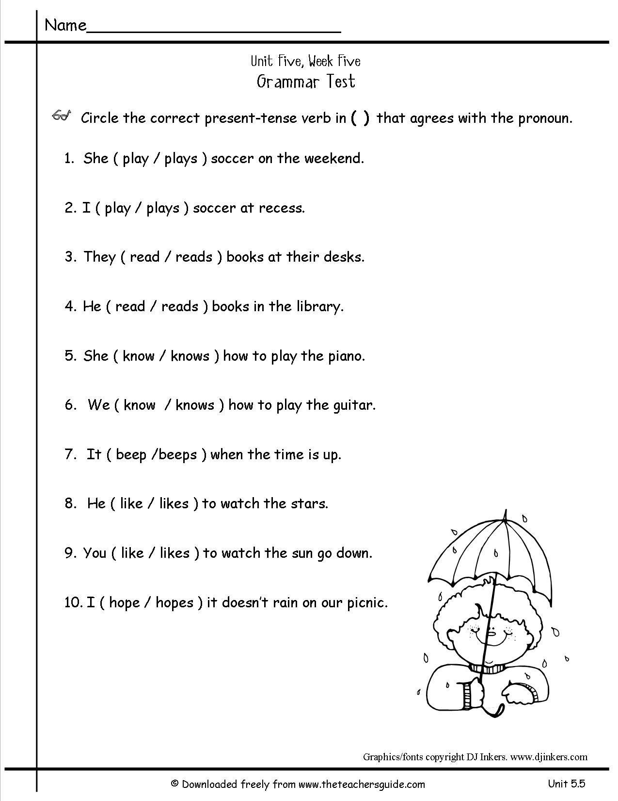 7th Grade History Worksheets 5 Free Grammar Worksheets Second Grade 2 Verbs Past Tense
