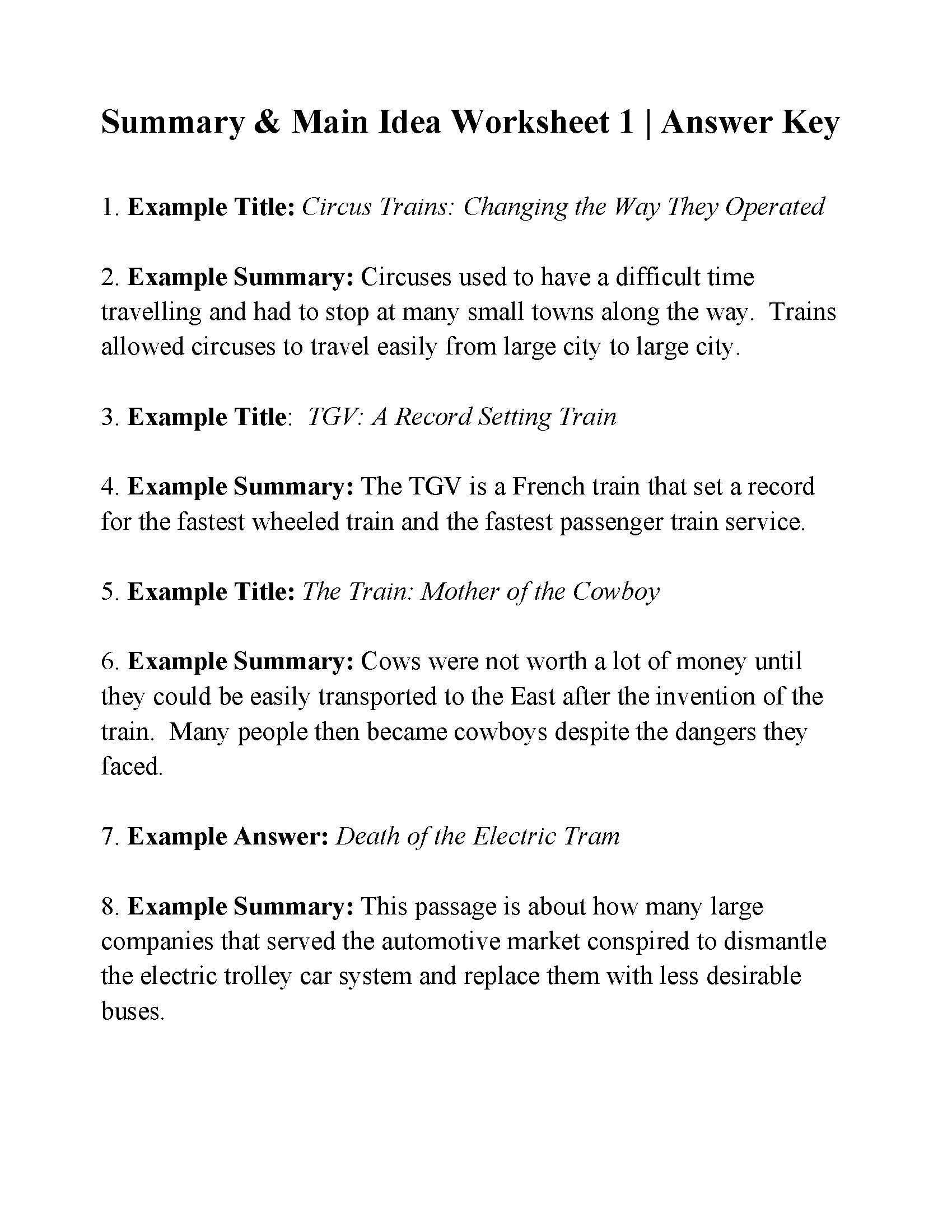 8th Grade Main Idea Worksheets This is the Answer Key for the Summary and Main Idea