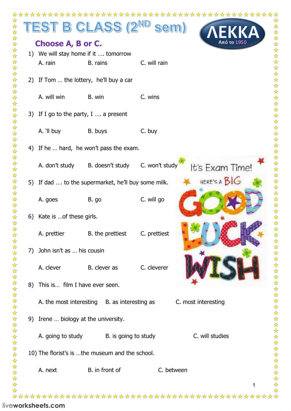 9th Grade Grammar Worksheets Pdf Grammar Test Interactive Worksheet