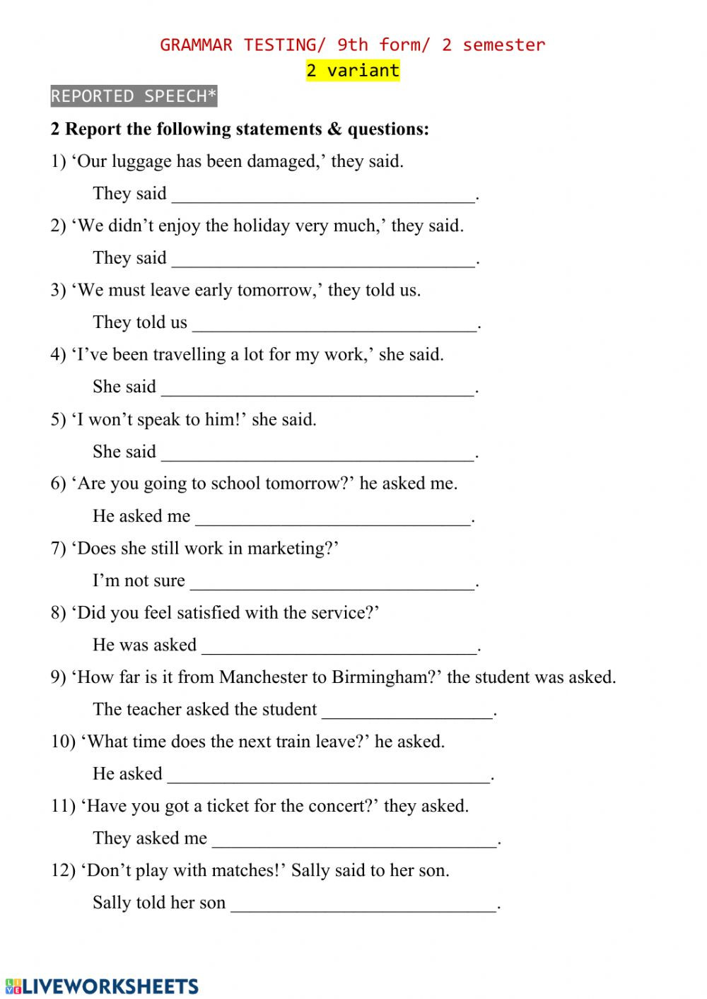 9th Grade Grammar Worksheets Pdf Reported Speech Test 2 Interactive Worksheet