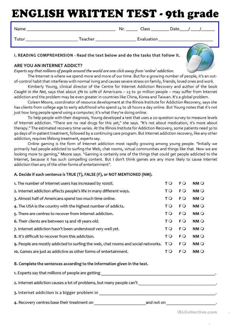 9th Grade Grammar Worksheets Pdf the Internet Test 9th Grade A2 B1 English Esl