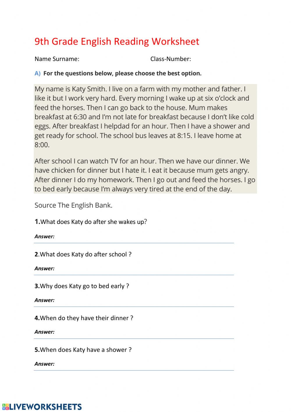 9th Grade Reading Worksheets English Reading Daily Routine Interactive Worksheet