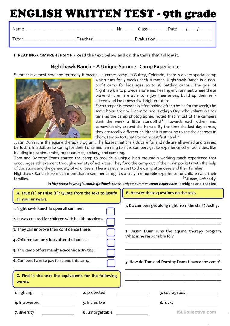 9th Grade Reading Worksheets Test A2 B1 Summer Camps Version A Regular Students