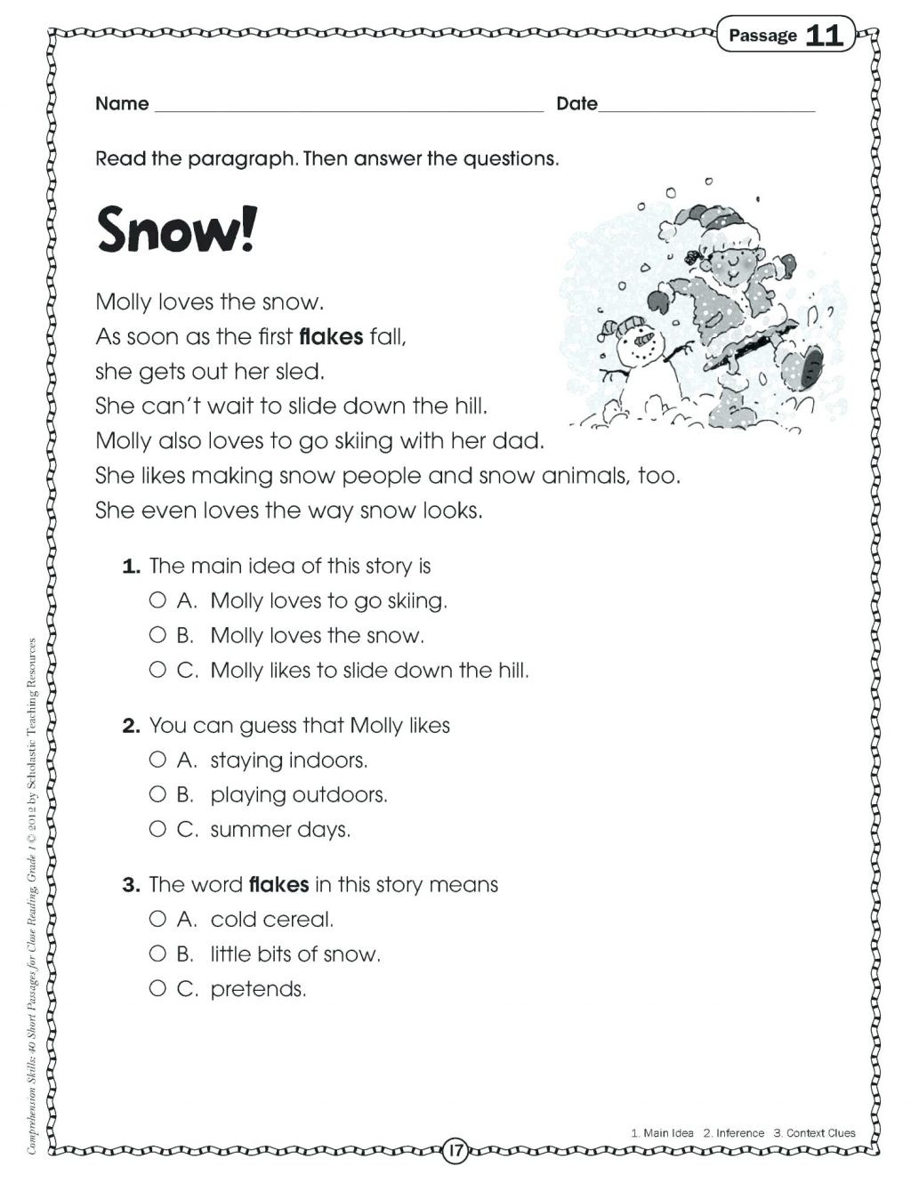 9th Grade Reading Worksheets Worksheet Free First Grade Reading Passages