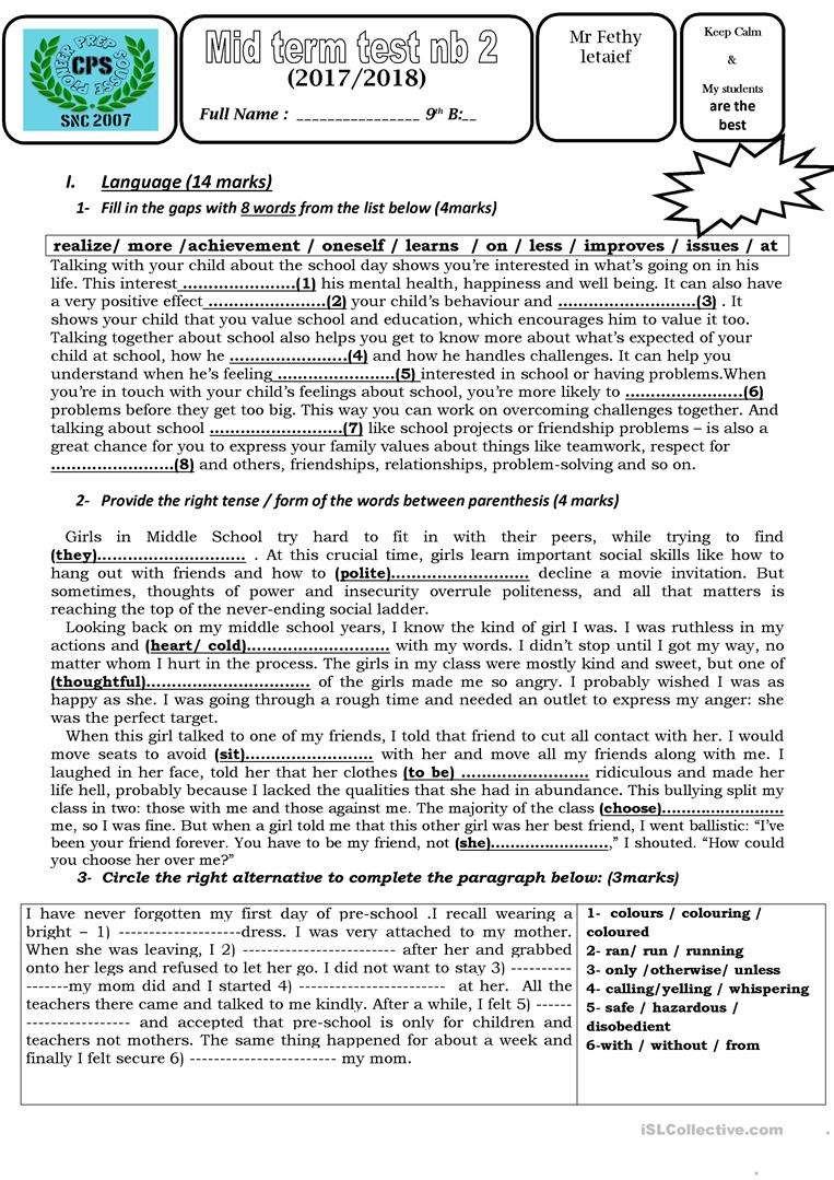 9th Grade Writing Worksheets Test 2 9th Grade Tunisia English Esl Worksheets for