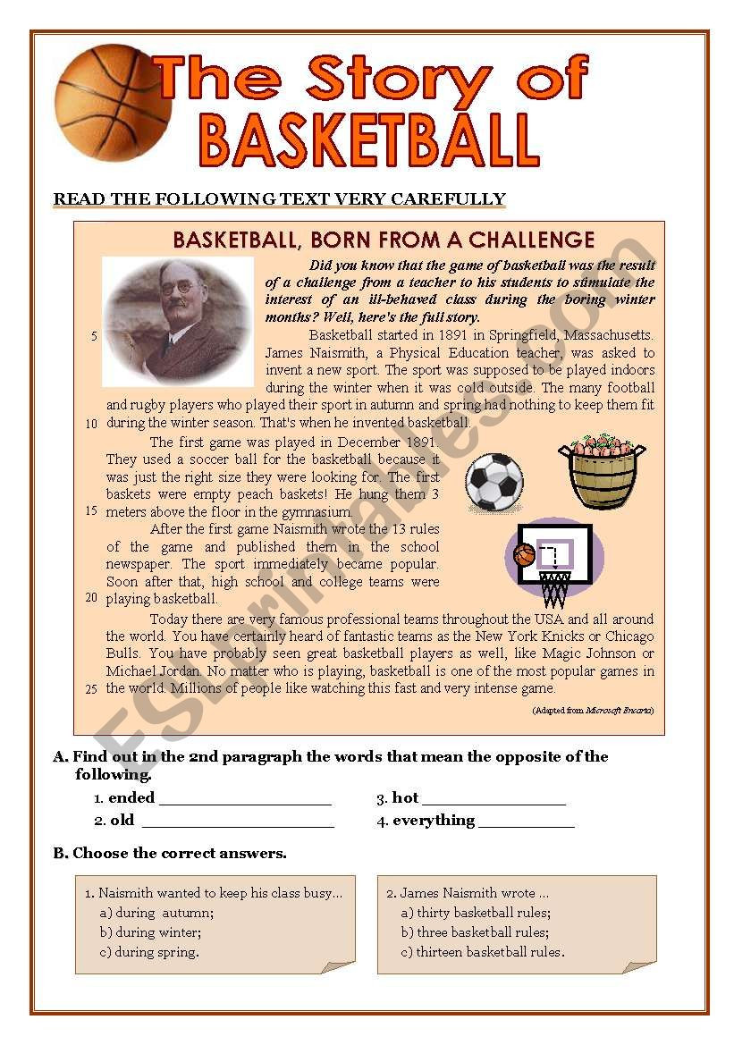 9th Grade Writing Worksheets Test 8 9th Graders Story Of Basketball Present Perfect