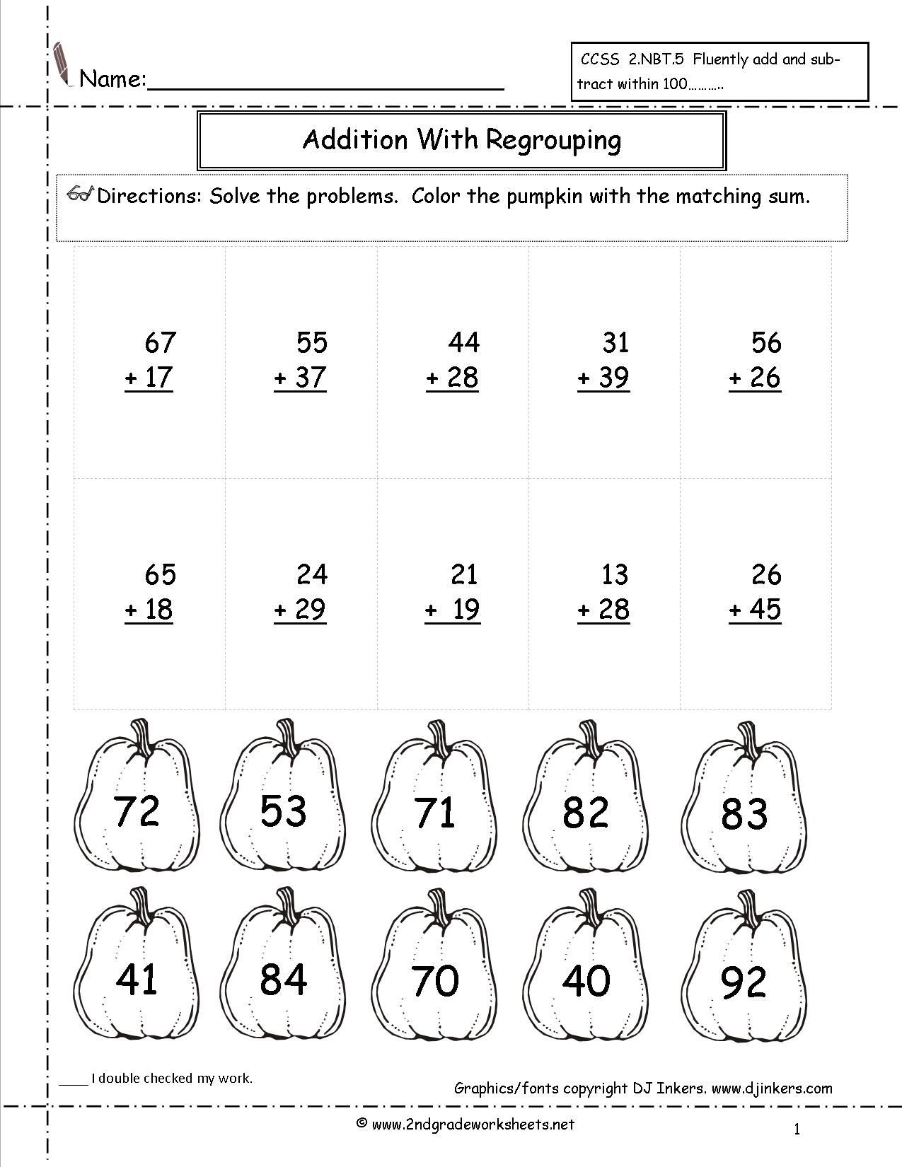 Adding Doubles Worksheet 2nd Grade Double Digit Addition Coloring Worksheets