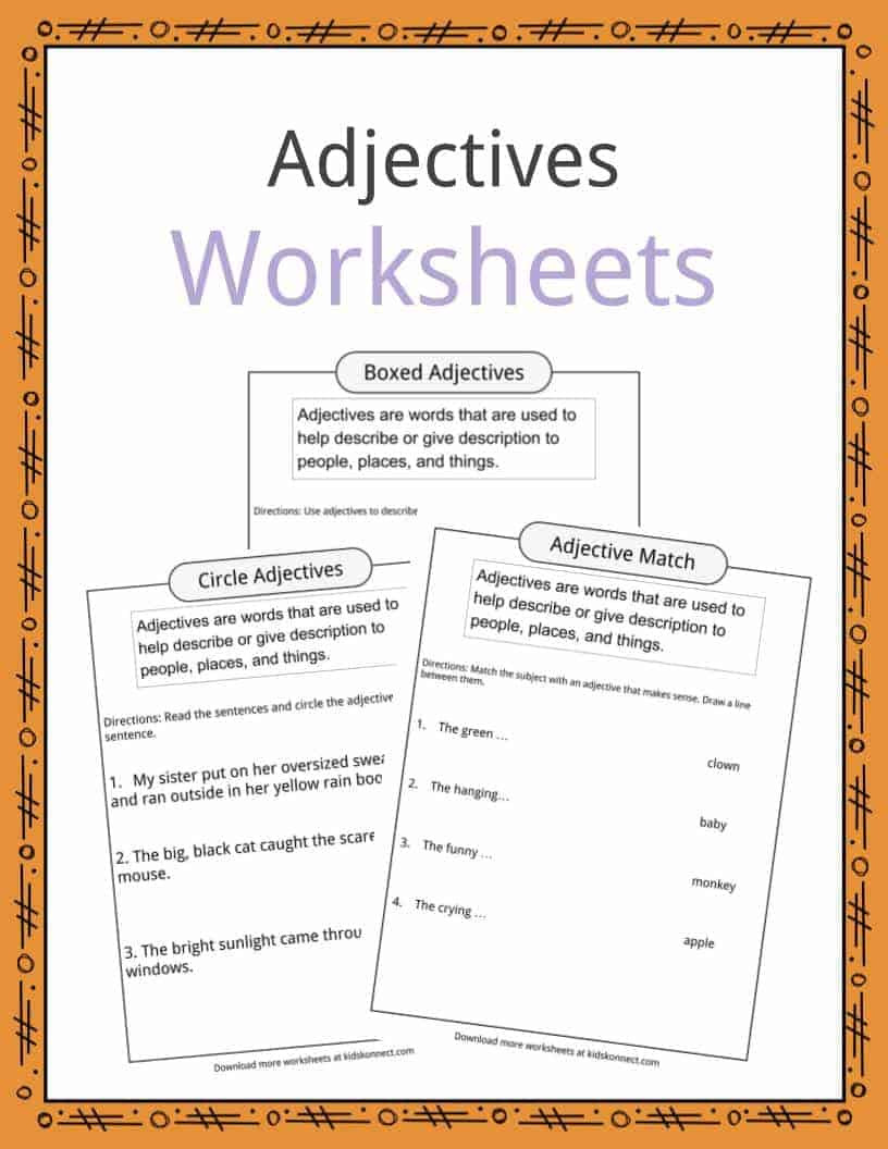 Adjectives Worksheet 2nd Grade Adjectives Definition Worksheets & Examples In Text for Kids