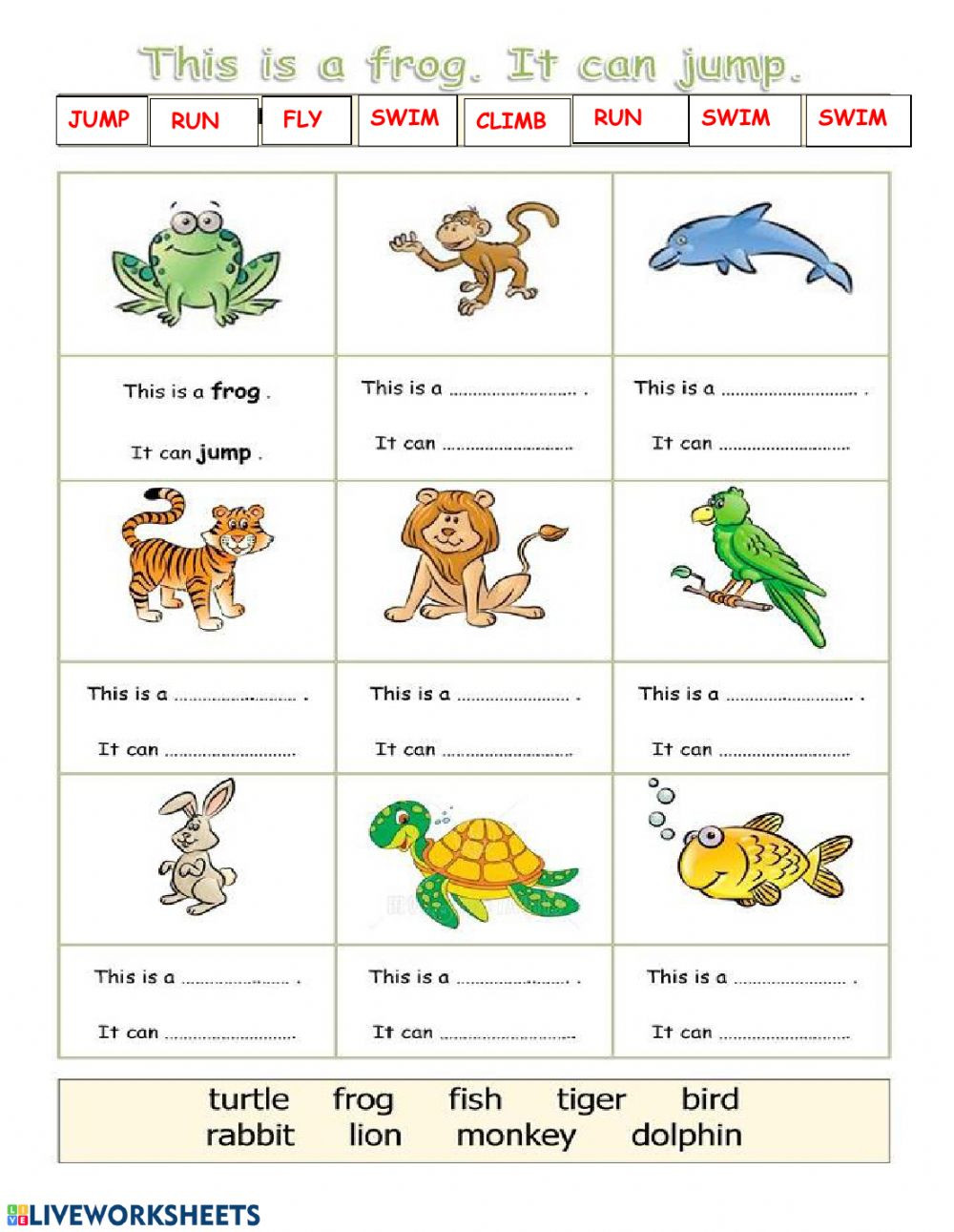 Amphibian Worksheets for Second Grade Wild Animals Can Interactive Worksheet