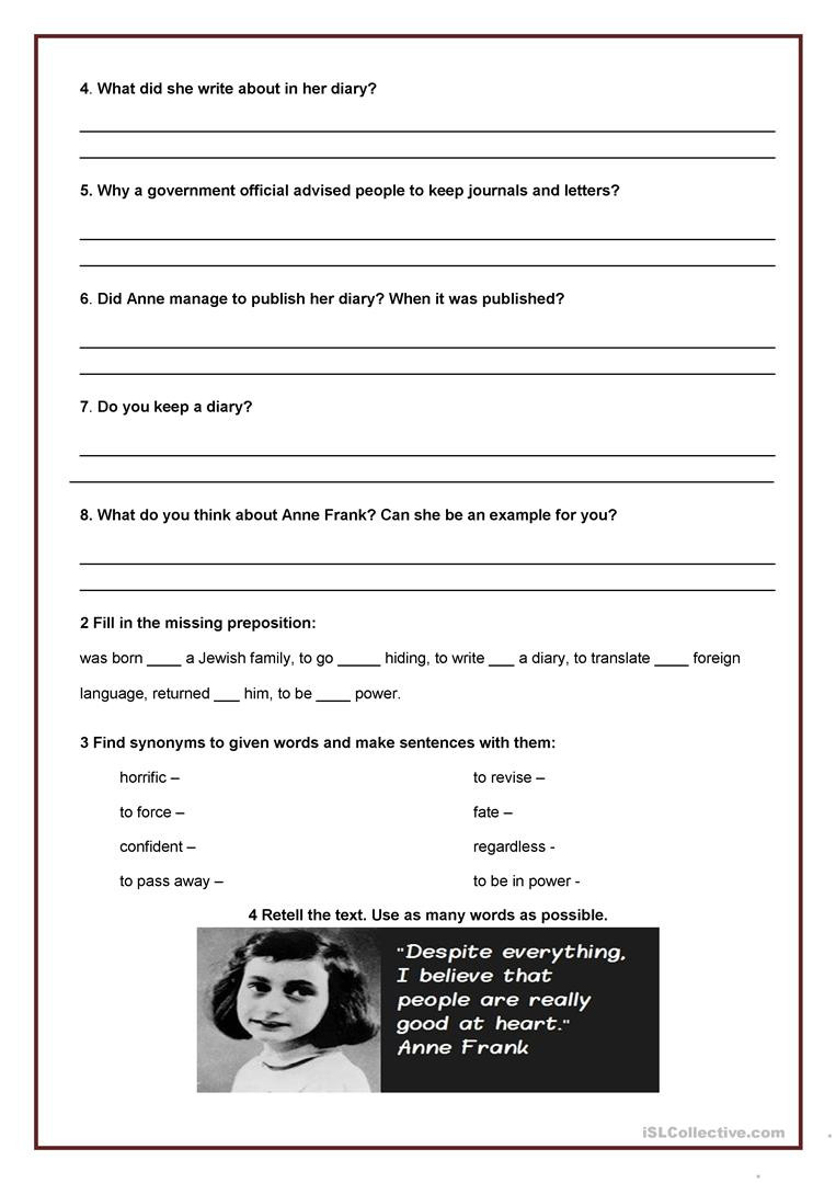 Anne Frank Worksheets Middle School Anne Frank Diary Entry In English Search