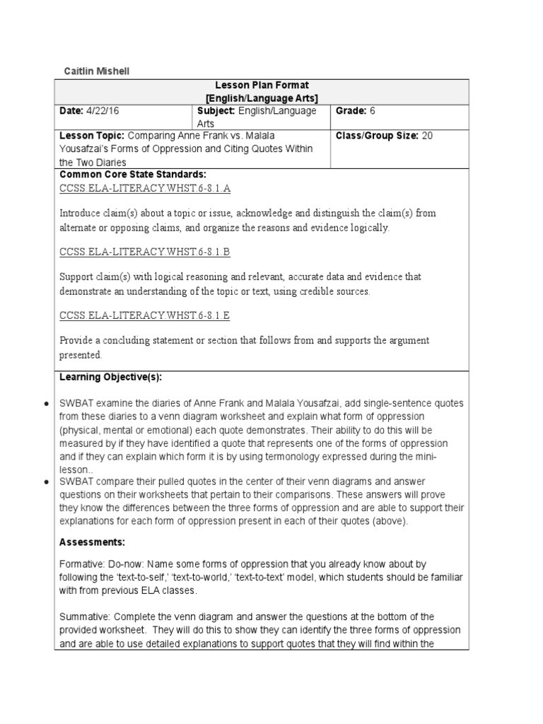Anne Frank Worksheets Middle School Middle School Oppression Lesson Plan