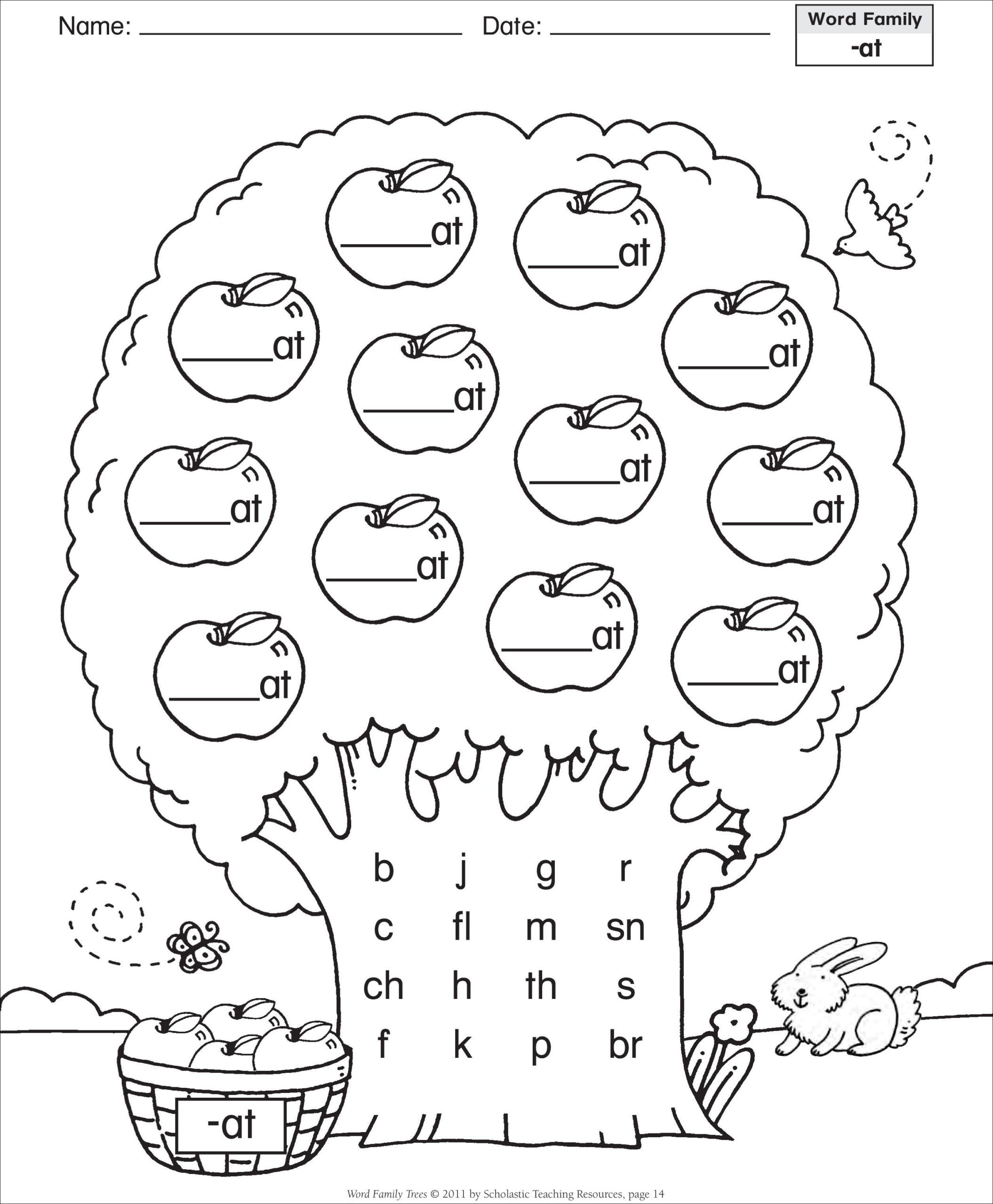Art Worksheets Middle School Word Family Template Short Vowel at Tree Grade English