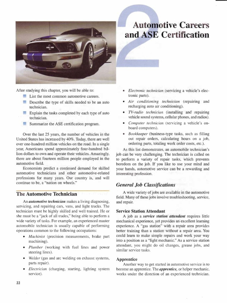Automotive Worksheets for Highschool Students Chapter 2 Automotive Careers ase Certification