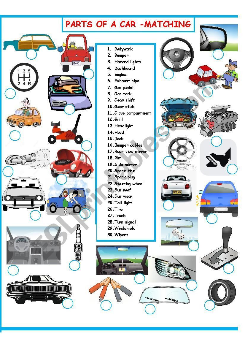 Automotive Worksheets for Highschool Students Parts Of A Car Vocabulary Words Students Have to Match the