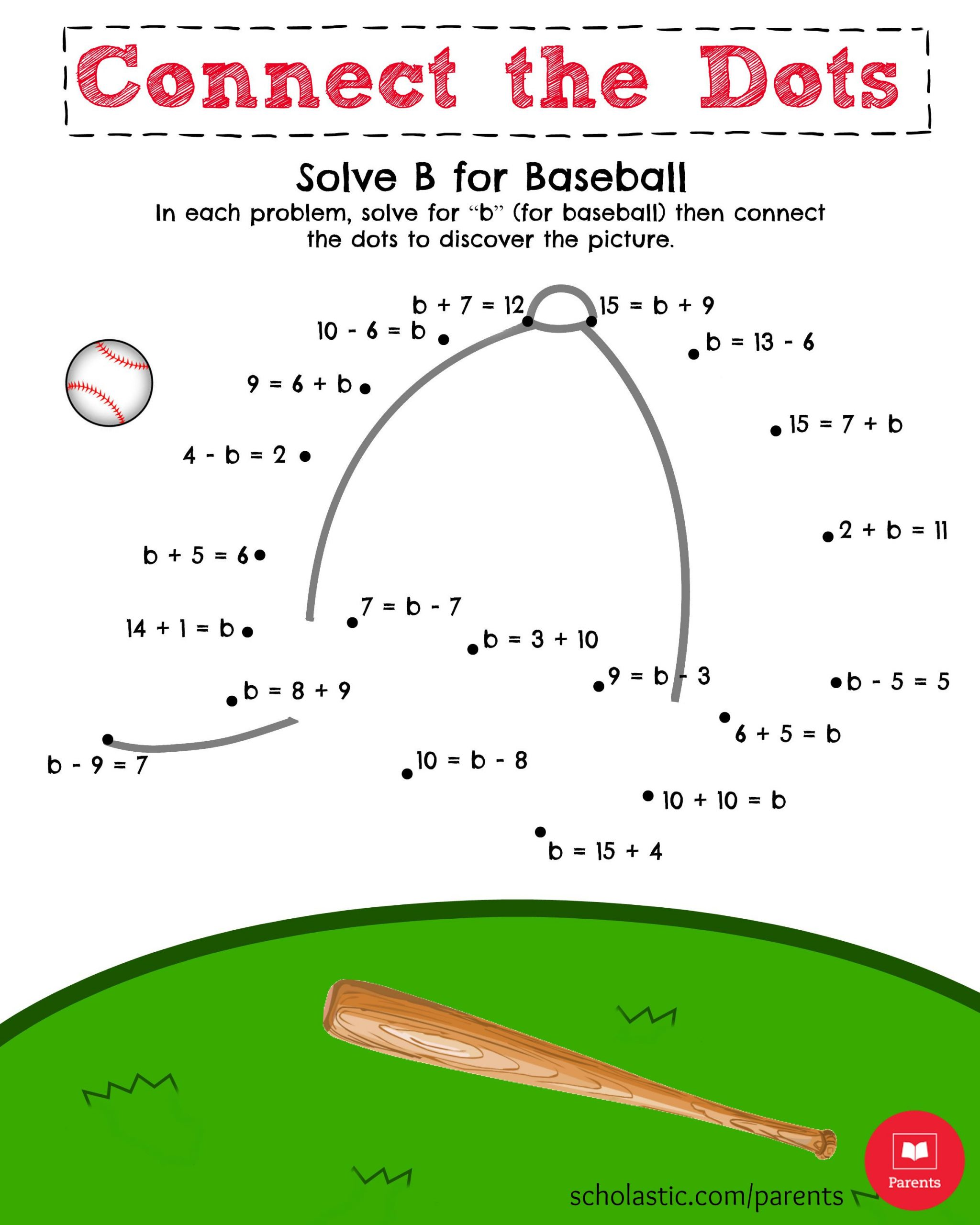 Baseball Math Worksheets Help Your Child solve for B and then Connect the Dots In