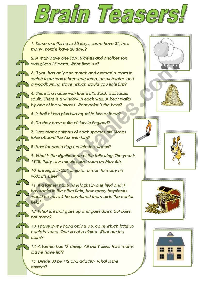 Brain Teasers Printable Worksheets Brain Teasers A Collection Of Funny Brain Teasers with