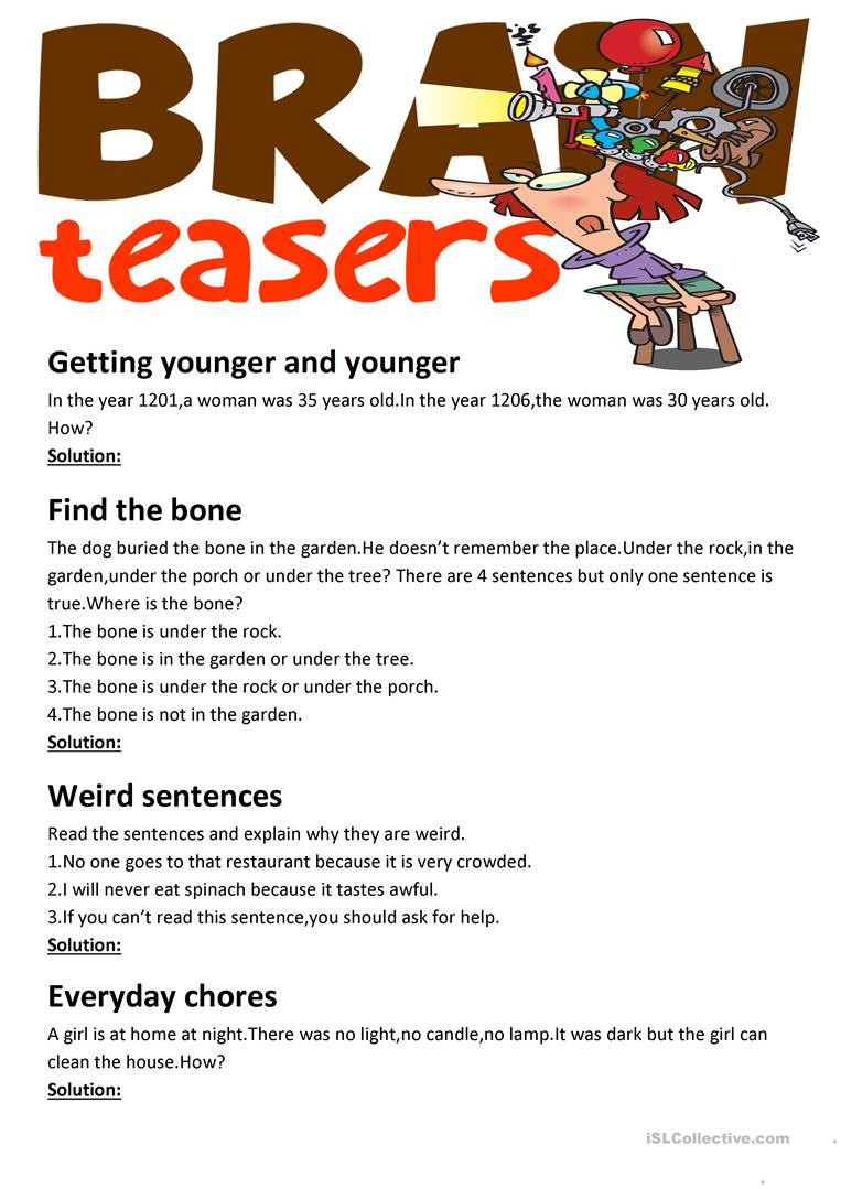Brain Teasers Printable Worksheets Brain Teasers with Answer Key English Esl Worksheets for