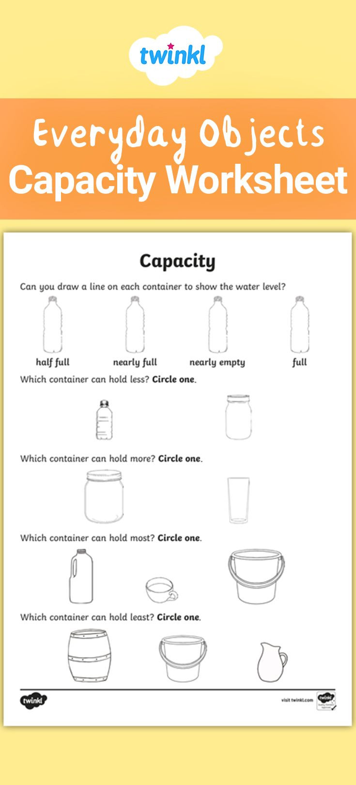 Capacity Maths Worksheets A Useful Worksheet for Practising and assessing Capacity