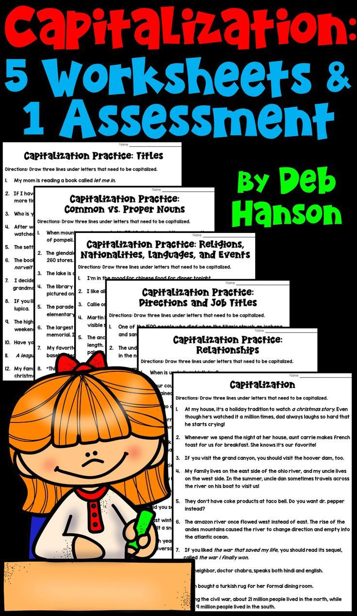 Capitalization Worksheet Middle School Capitalization Rules 5 Worksheets and 1 assessment