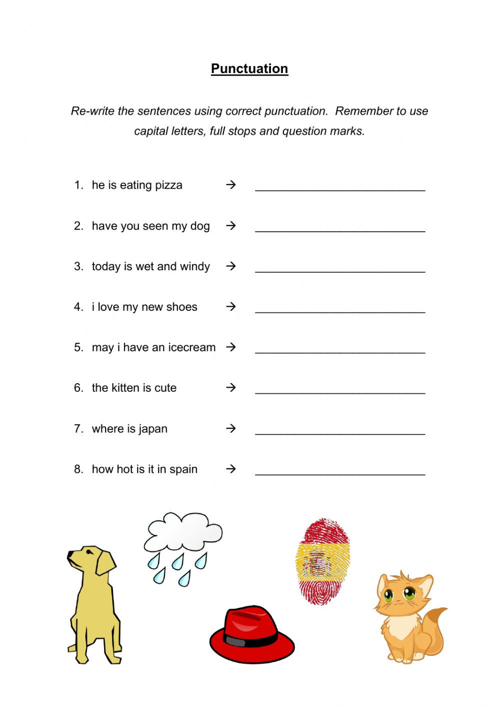 Capitalization Worksheets Grade 1 Correct the Punctuation Interactive Worksheet