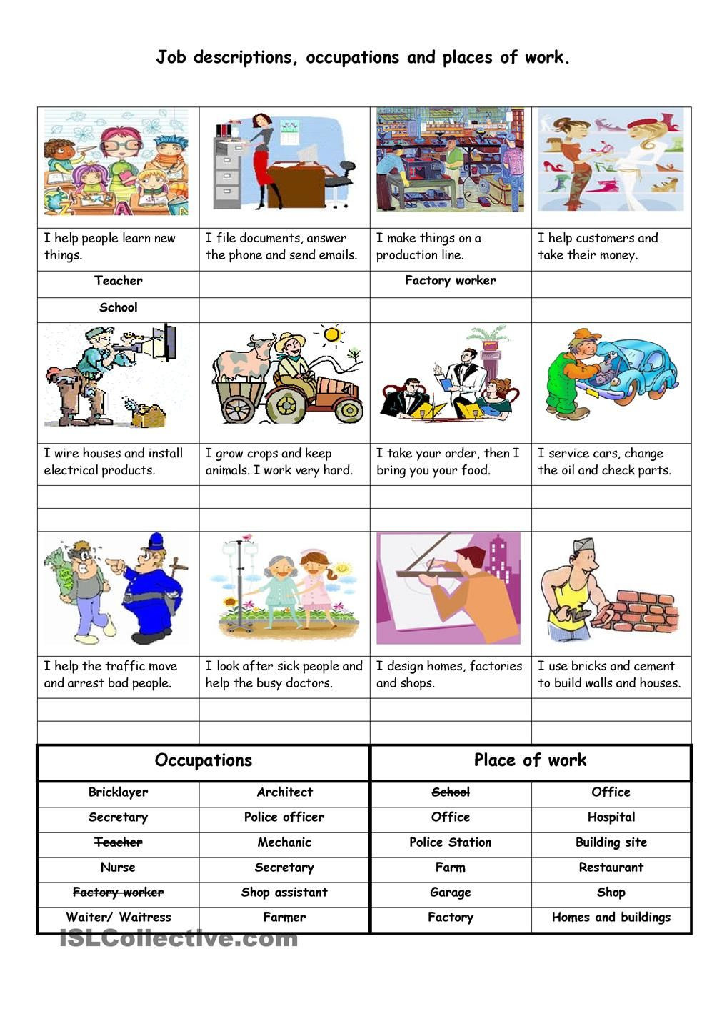 Career Worksheets for Middle School Job Descriptions Occupations and Places Of Work