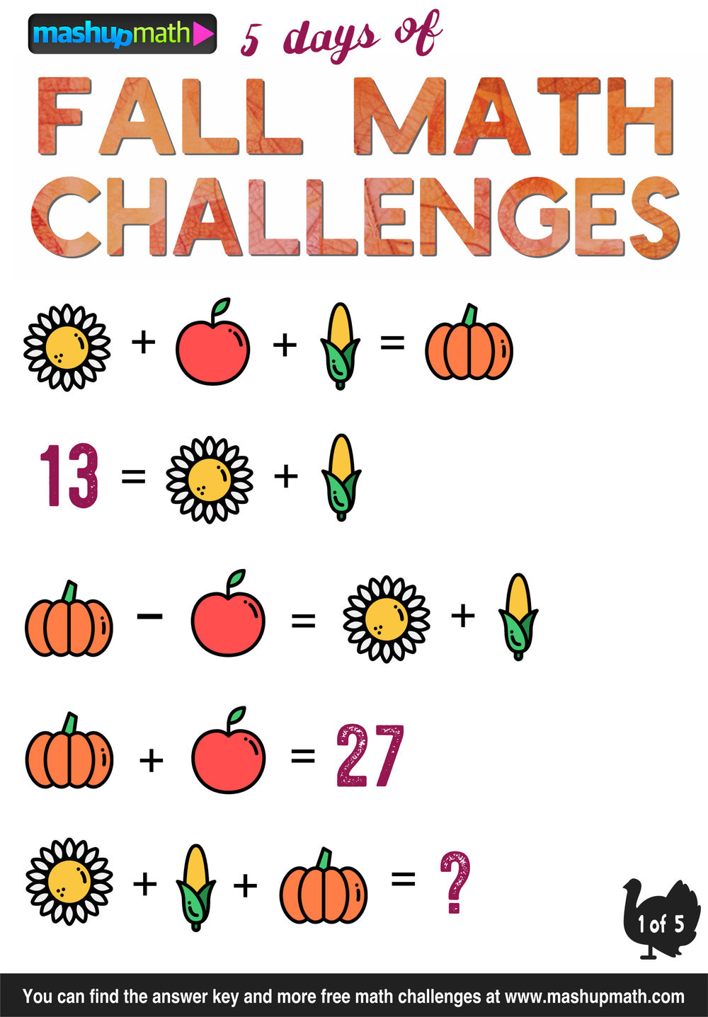 Challenge Math Worksheets are Your Kids Ready for 5 Days Of Fall Math Challenges