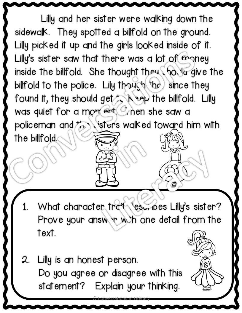 Character Traits Worksheet 2nd Grade at Home Learning Character Traits Passages Prove It to Me